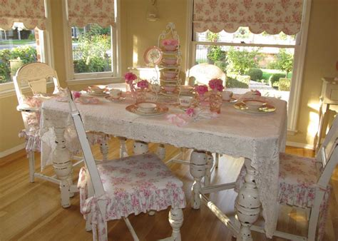 Dining Table Shabby Chic With White Color And Pink Floral White Shabby Chic Dining Table