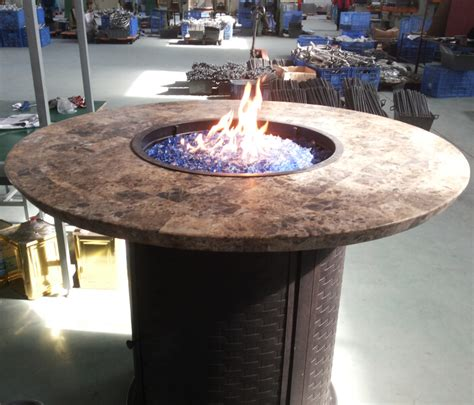 Glowing Chairs Make For Great Late Barbecues by Gas Pit Table Marble Top Outdoor Propane