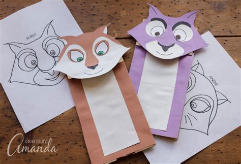 How To Make A Puppet With Paper - paper bag squirrel puppets surly and andie from nut 2