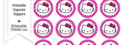 free magenta moroccan tile hello kitty cupcake toppers