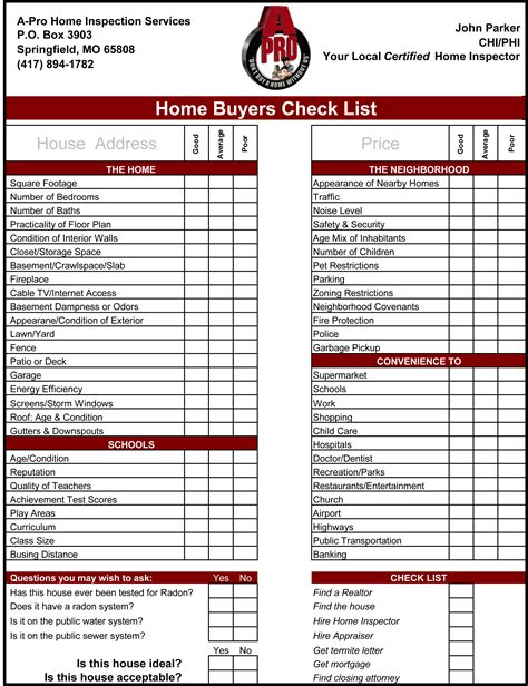 home buyers checklist a pro home inspections