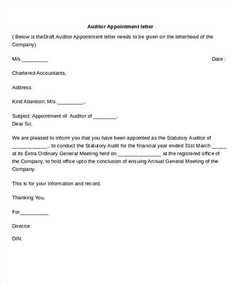 appointment letter format for chartered accountant auditor appointment letter templates 6 free word pdf