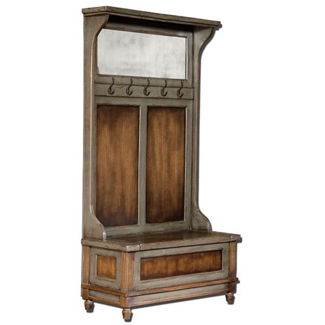 entry hall tree bench riyo mango wood entry hall bench with coat rack uttermost