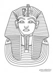 Pharaoh Outline by King Tut Mask Coloring Page Print Color