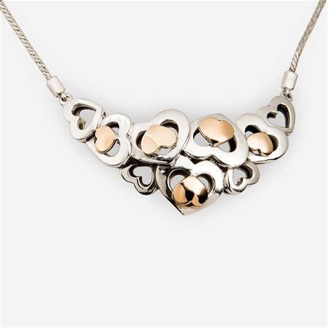 Two Tone Necklace two tone silver necklace with 14k gold zanfeld