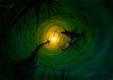 fish green light monster creepy underwater ocean sea eyes