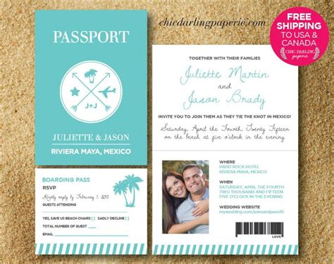 passport wedding invitation template free