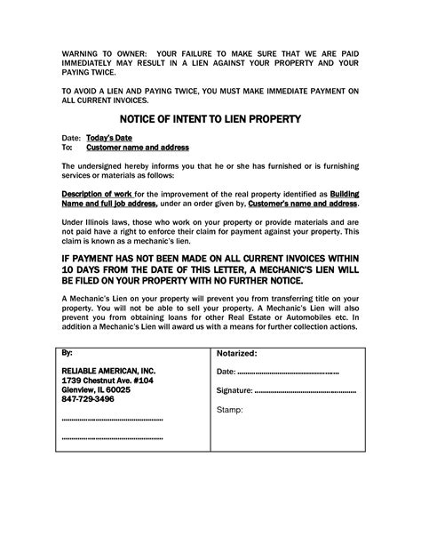 notice of lien letter template 10 best images of colorado notice intent to lien file a