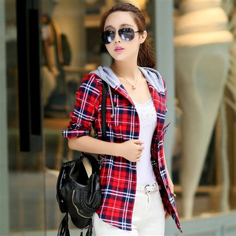 New Baju Atasan Wanita Plaid Pocket Shirt Dress Import 18673 buy wholesale hooded check shirts from china hooded check shirts wholesalers aliexpress