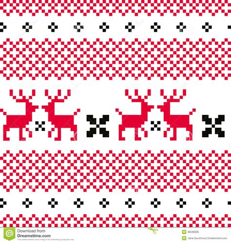 norwegian pattern vector norwegian ornamental christmas pattern red and w stock