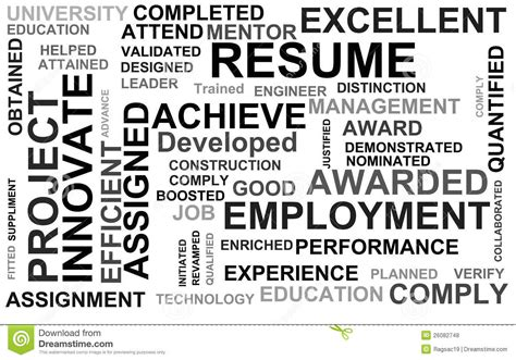 Powerful Resume Words by Resume Powerful Words Royalty Free Stock Photos Image