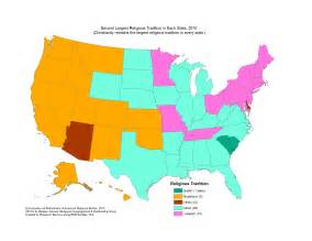 us map by religion what is the second most popular religion in your state