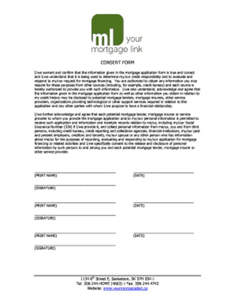 Mortgage Forms Templates Fillable Printable Sles Email Consent Template