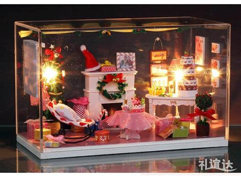 doll house christmas lights crystal box led light dollhouse room miniatures merry