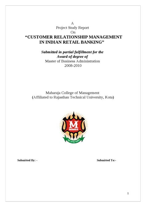 Customer Relationship Management Mba Project Report by A Project Study Report On Customer Relationship Management