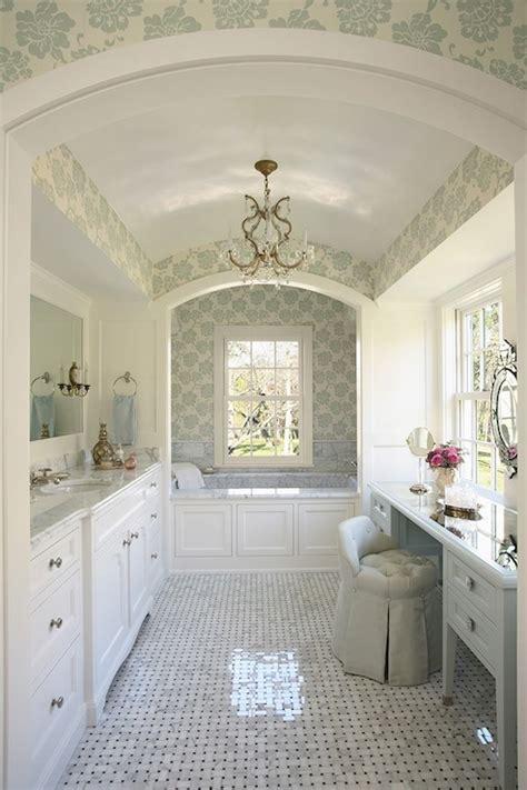 Traditional Bathroom Wallpaper Albero Floreale Aqua Wallpaper Traditional Bathroom Rlh Studio