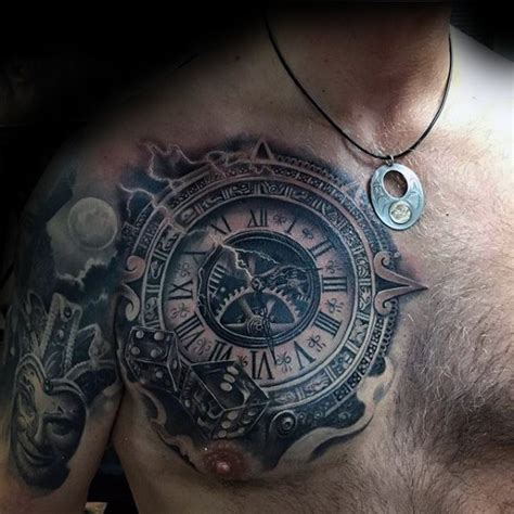 tattoo chest clock 40 3d chest tattoo designs for men manly ink ideas