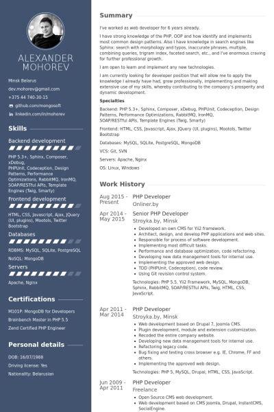 senior php developer resume exle engineer resume sles visualcv resume texasconnection co