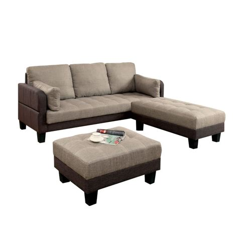 vue couch furniture of america vue 3 piece convertible sectional set