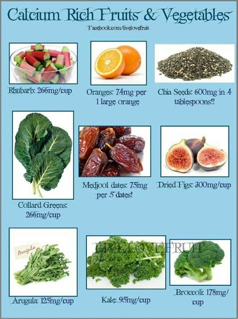 fruit high in calcium calcium rich fruits and vegetables infographics