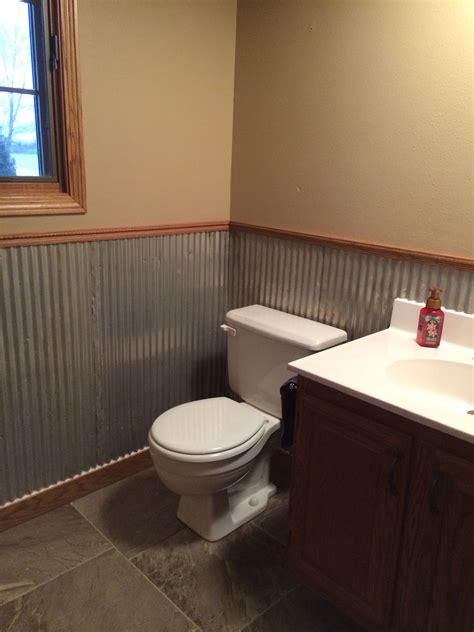 Wainscoting Half Bath by Galvanized Tin Used As Wainscoting In Half Bath