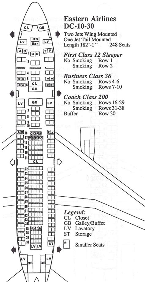 dc10 seating plan vintage airline seat map eastern airlines dc 10 30