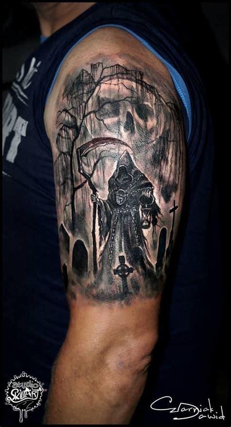 skull graveyard tattoo designs 42 impressive graveyard and cemetery designs for