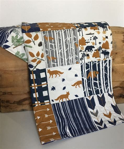 moose baby bedding fox quilt boy fox crib bedding fox nursery boy moose baby
