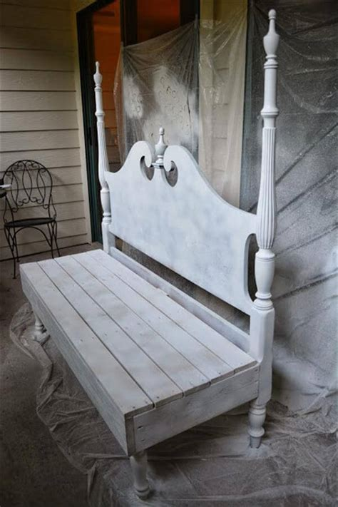 bench made from bed headboard 7 diy old rustic wood furniture projects diy recycled