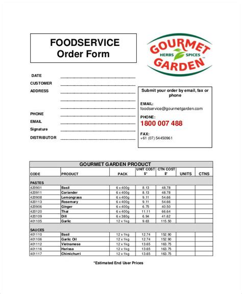 food order form template service form template