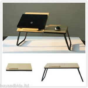 Folding laptop table stand desk wooden lap bed tray computer notebook