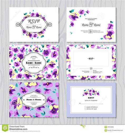 Diy Pansy Card Template by Vector Set Of Templates Invitations Or Greeting Cards With