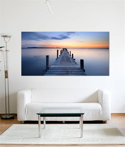 orange blue sunset jetty canvas print home abode