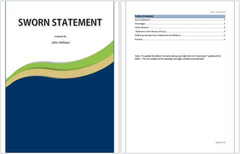 sworn statement exle sworn statement template ms office documents