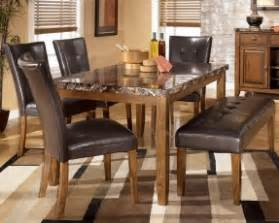 Dining Room Table With Chairs And Bench faux marble dining table with parson chairs and dining bench