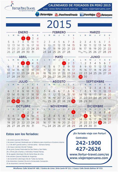 Calendario Feriados 2015 Calendario De Feriados 2015 En Per 250 Descargar E Imprimir