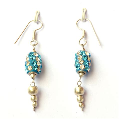 Handmade Ear Rings - handmade earrings blue with white aqua