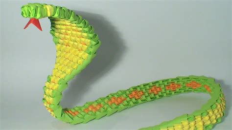 How To Make A 3d Snake Out Of Paper - 3d origami green snake tutorial