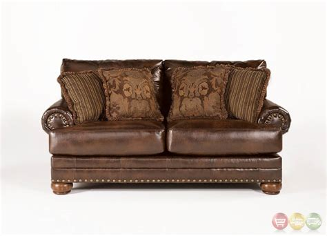 accent loveseat ashley antique brown leather loveseat w rolled arms
