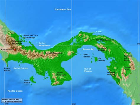 physical map of panama panama physical map a learning family