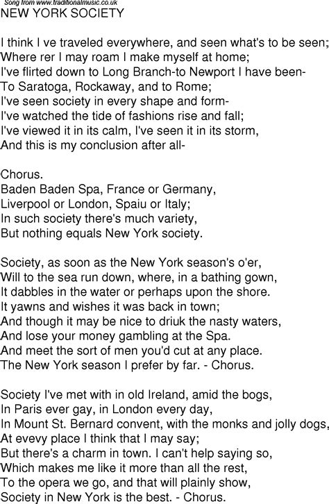 old time song lyrics for 04 new york society