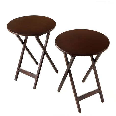 Folding Bistro Table Bay Shore Collection Folding Bistro Tray Table 19 75 Quot Diameter 2 Pack Espresso