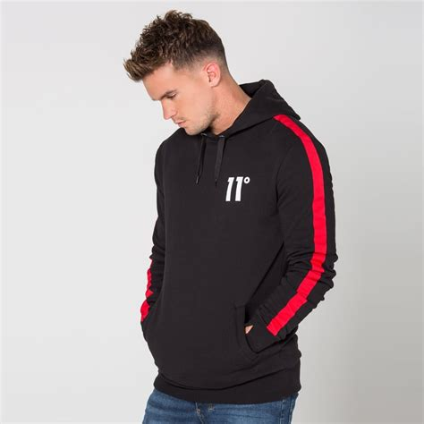 Hoodie Abu Co One 1 stripe cut sew pull hoodie black 11 degrees from eleven degrees uk