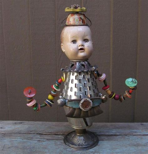 doll assemblage steunk vintage baby doll found objects assemblage