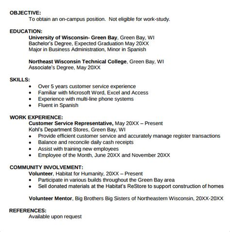 sle student resume template 11 free documents in pdf word