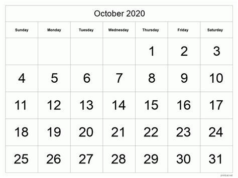printable october  calendar template  full page tabular