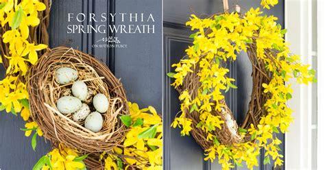 spring forsythia wreath  pop  yellow   door