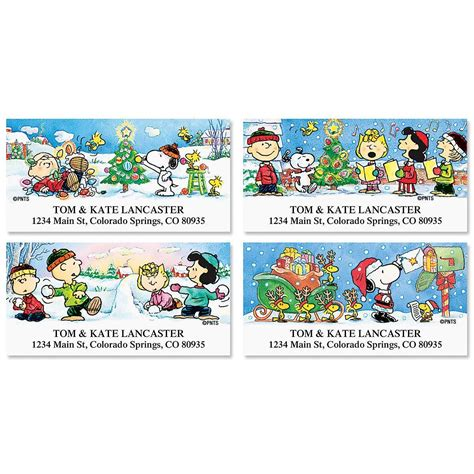 colorful images address labels peanuts deluxe return address labels