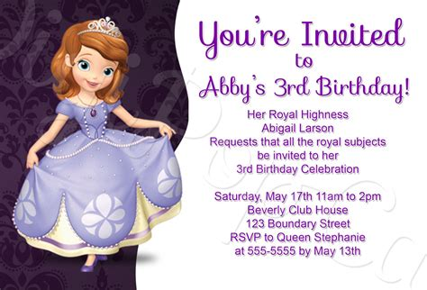 princess sofia birthday invitation templates princess sofia birthday invitations best ideas