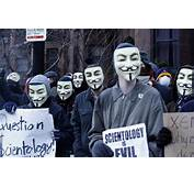 Dozens Of Masked Protesters Blast Scientology Church  The